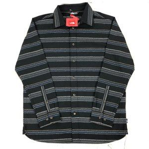 The North Face Mens Black Standard Fit Plaid Butto